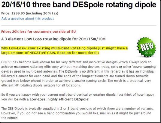 DESpole rotating dipole
