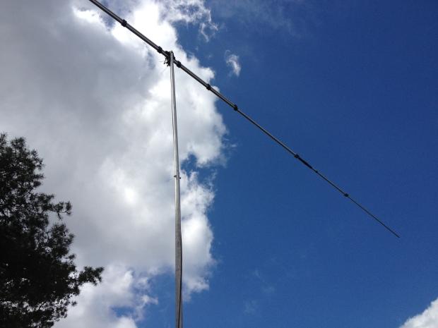 Test opstelling in het veld met de 40 meter rotary dipool.